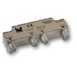 FD-213  Derivador blindado, compensado, conector F, 2 salidas a 17,5 dB (860 MHz), a 12 dB (2150 MHz)