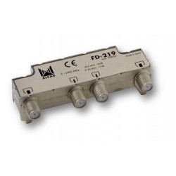 FD-219  Derivador blindado, compensado, conector F, 2 salidas a 24 dB (860 MHz), a 17,5 dB (2150 MHz)