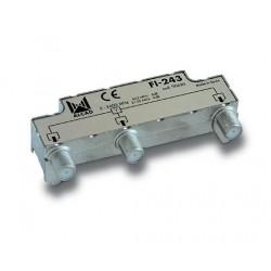 FI-243  Distribuidor 2 salidas, de 4 dB (862 MHz), 5 a 2400 MHz, blindado, con conector F