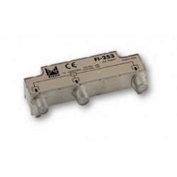 FI-253  Distribuidor blindado, conector F, 2 salidas a 5,5 dB