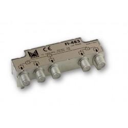 FI-483  Distribuidor blindado, conector F, 4 salidas a 9,5 dB (47 MHz), a 10,5 dB (2150 MHz)
