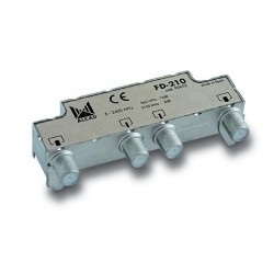 FD-210  Derivador blindado, compensado, conector F, 2 salidas a 13 dB (860 MHz), a 8,5 dB (2150 MHz)