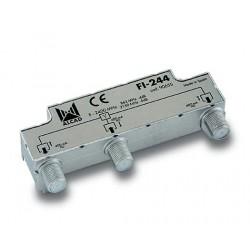 FI-244  Distribuidor blindado, conector F, 2 salidas con P.C. a 5,5 dB (2150 MHz)