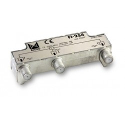 FI-254  Distribuidor blindado, conector F, 2 salidas con P.C. a 4 dB (2150 MHz)