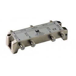 DI-602  Distribuidor blindado, conector F, 6 salidas con P.C. a 16 dB (2150 MHz)