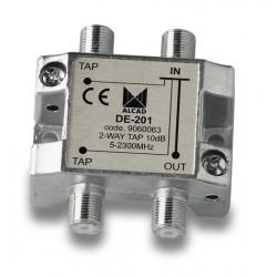 DE-201  Derivador 2 salidas a 13,5 dB, plano, 5 a 2300 MHz, blindado, con conector F