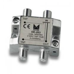 DE-203  Derivador 2 salidas a 16,5 dB, plano, 5 a 2300 MHz, blindado, con conector F