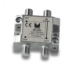 DE-205  Derivador 2 salidas a 22 dB, plano, 5 a 2300 MHz, blindado, con conector F