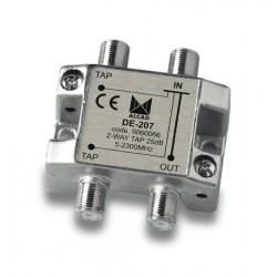 DE-207  Derivador 2 salidas a 27 dB, plano, 5 a 2300 MHz, blindado, con conector F