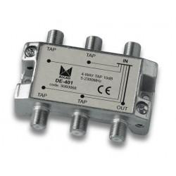 DE-401  Derivador 4 salidas a 15 dB, plano, 5 a 2300 MHz, blindado, con conector F