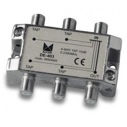 DE-403  Derivador 4 salidas a 17,5 dB, plano, 5 a 2300 MHz, blindado, con conector F