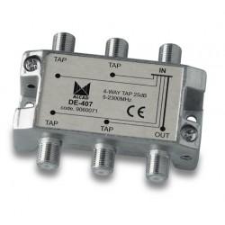 DE-407  Derivador 4 salidas a 28,5 dB, plano, 5 a 2300 MHz, blindado, con conector F