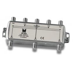 DE-603  Derivador 6 salidas a 21 dB, plano, 5 a 2300 MHz, blindado, con conector F