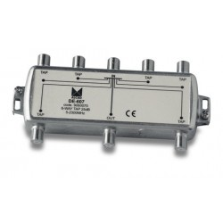 DE-607  Derivador 6 salidas a 27,5 dB, plano, 5 a 2300 MHz, blindado, con conector F