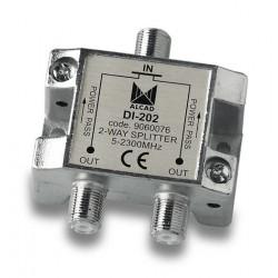DI-202  Distribuidor 2 salidas 6 dB (2150 MHz) con P.C., 5 a 2300 MHz, blindado, con conector F
