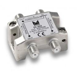 DI-302  Distribuidor blindado, conector F, 3 salidas con P.C. a 9 dB (2150 MHz).