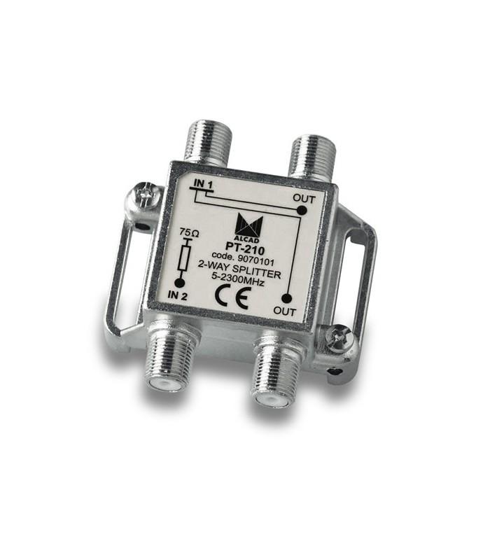 PT-210  Punto de acceso al usuario con distribuidor 2 salidas 5,5 dB (2150 MHz), 5 a 2300 MHz, blindado, con conector F