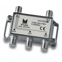 PT-310  Punto de acceso al usuario con distribuidor 3 salidas 10 dB (2150 MHz), 5 a 2300 MHz, blindado, con conector F