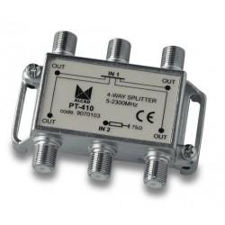 PT-410  Punto de acceso al usuario con distribuidor 4 salidas 10,5 dB (2150 MHz), 5 a 2300 MHz, blindado, con conector F